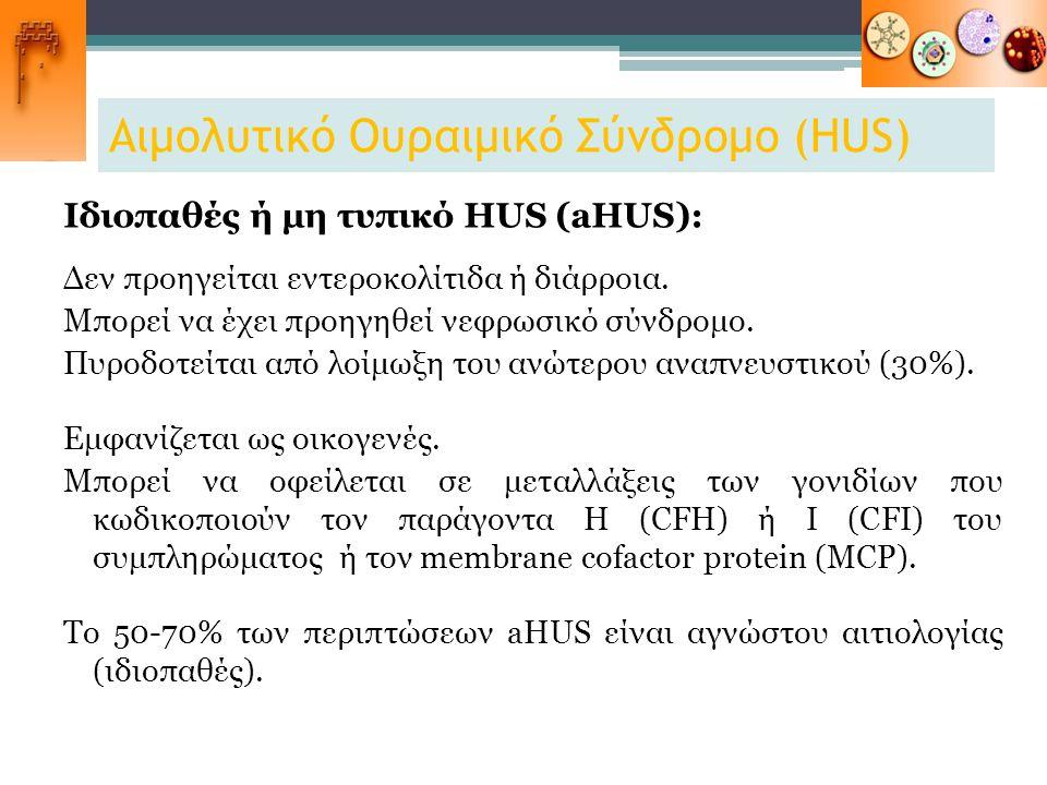 Αιμολυτικό Ουραιμικό Σύνδρομο (HUS) Ιδιοπαθές ή μη τυπικό HUS (aHUS): Δεν προηγείται εντεροκολίτιδα ή διάρροια. Μπορεί να έχει προηγηθεί νεφρωσικό σύν