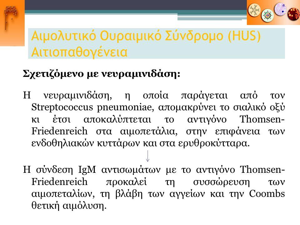 Αιμολυτικό Ουραιμικό Σύνδρομο (HUS) Αιτιοπαθογένεια Σχετιζόμενο με νευραμινιδάση: Η νευραμινιδάση, η οποία παράγεται από τον Streptococcus pneumoniae,