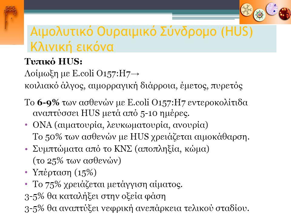 Αιμολυτικό Ουραιμικό Σύνδρομο (HUS) Κλινική εικόνα Τυπικό HUS: Λοίμωξη με E.coli O157:Η7 → κοιλιακό άλγος, αιμορραγική διάρροια, έμετος, πυρετός Το 6-
