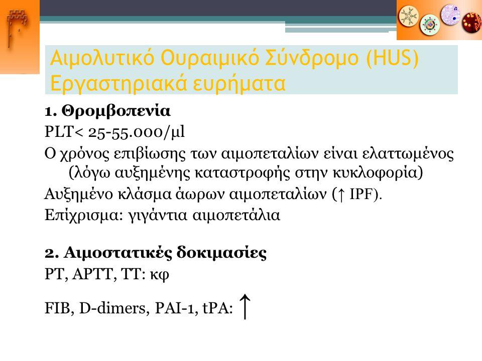 Αιμολυτικό Ουραιμικό Σύνδρομο (HUS) Εργαστηριακά ευρήματα 1. Θρομβοπενία PLT< 25-55.000/μl Ο χρόνος επιβίωσης των αιμοπεταλίων είναι ελαττωμένος (λόγω