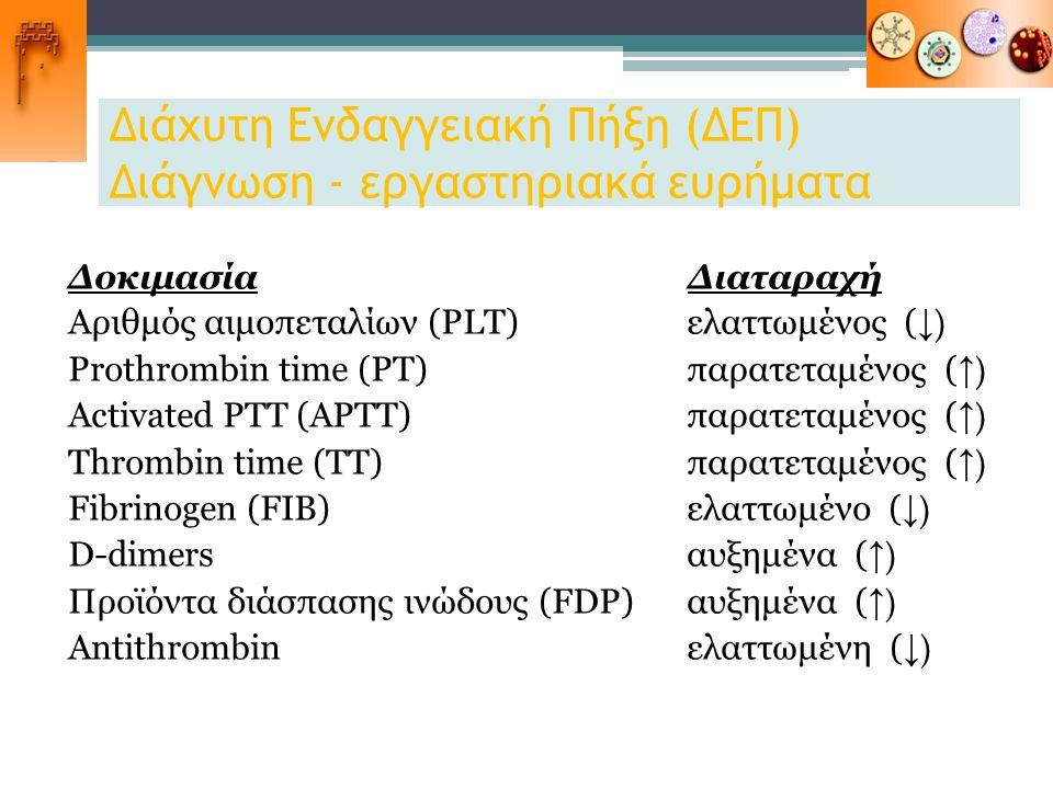 Διάχυτη Ενδαγγειακή Πήξη (ΔΕΠ) Διάγνωση - εργαστηριακά ευρήματα Δοκιμασία Διαταραχή Αριθμός αιμοπεταλίων (PLT)ελαττωμένος ( ↓) Prothrombin time (PT)πα