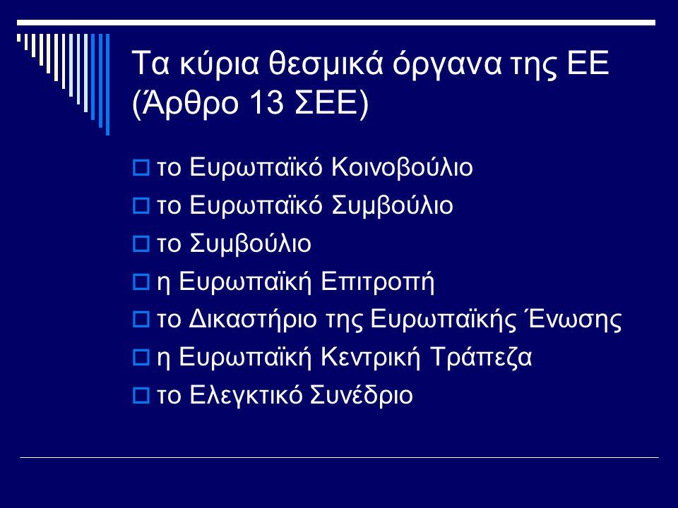 Τα κύρια θεσμικά όργανα της ΕΕ (Άρθρο 13 ΣΕΕ)  το Ευρωπαϊκό Κοινοβούλιο  το Ευρωπαϊκό Συμβούλιο  το Συμβούλιο  η Ευρωπαϊκή Επιτροπή  το Δικαστήριο της Ευρωπαϊκής Ένωσης  η Ευρωπαϊκή Κεντρική Τράπεζα  το Ελεγκτικό Συνέδριο