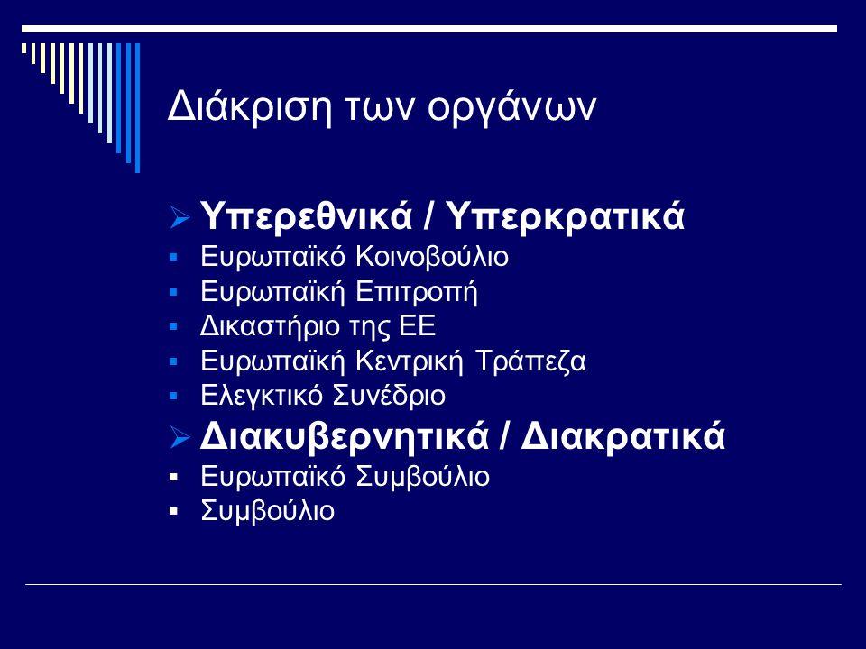 Διάκριση των οργάνων  Υπερεθνικά / Υπερκρατικά  Ευρωπαϊκό Κοινοβούλιο  Ευρωπαϊκή Επιτροπή  Δικαστήριο της ΕΕ  Ευρωπαϊκή Κεντρική Τράπεζα  Ελεγκτικό Συνέδριο  Διακυβερνητικά / Διακρατικά  Ευρωπαϊκό Συμβούλιο  Συμβούλιο