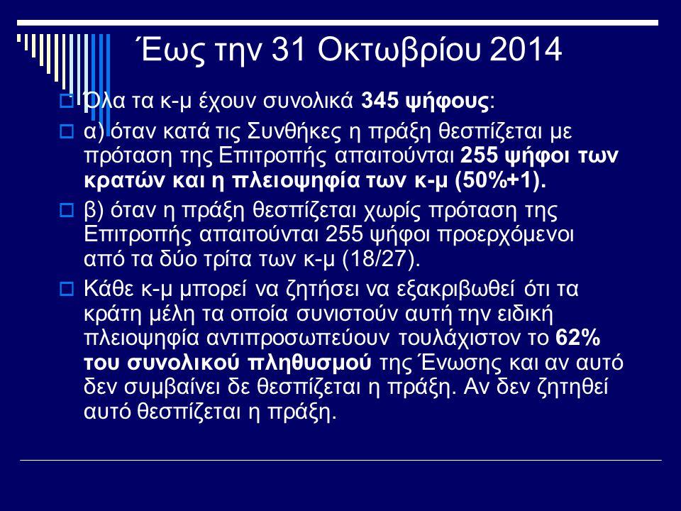 Έως την 31 Οκτωβρίου 2014  Όλα τα κ-μ έχουν συνολικά 345 ψήφους:  α) όταν κατά τις Συνθήκες η πράξη θεσπίζεται με πρόταση της Επιτροπής απαιτούνται 255 ψήφοι των κρατών και η πλειοψηφία των κ-μ (50%+1).