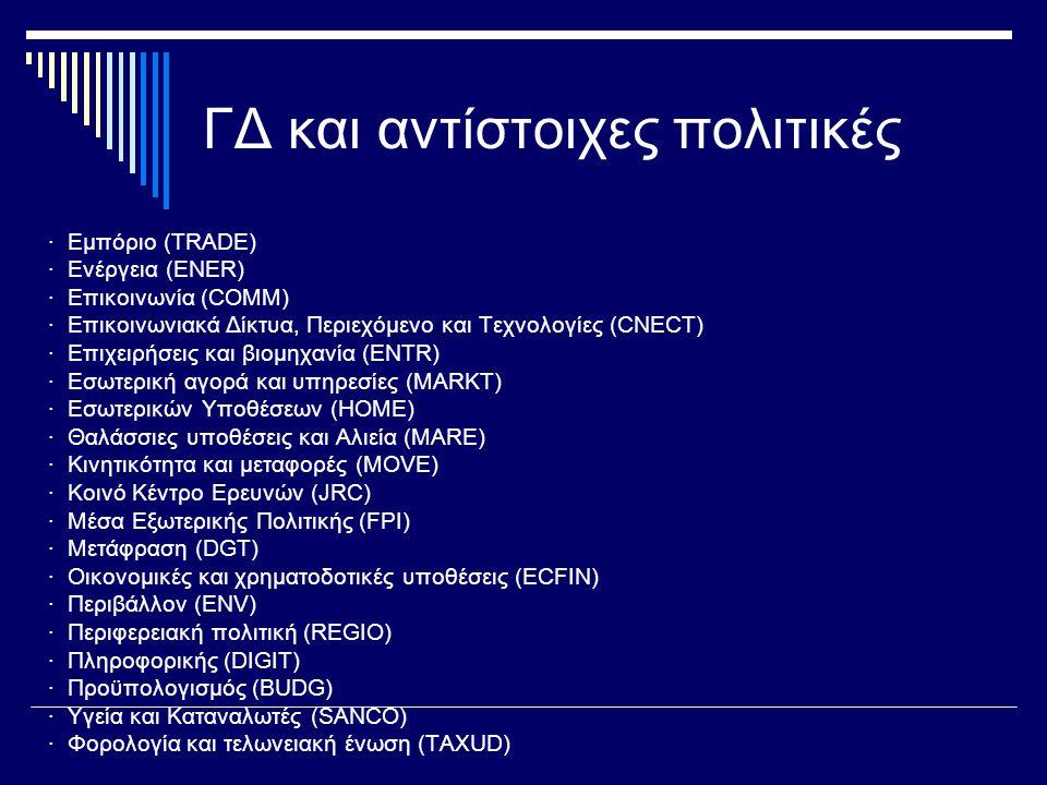 ΓΔ και αντίστοιχες πολιτικές · Εμπόριο (TRADE) · Ενέργεια (ENER) · Επικοινωνία (COMM) · Επικοινωνιακά Δίκτυα, Περιεχόμενο και Τεχνολογίες (CNECT) · Επιχειρήσεις και βιομηχανία (ENTR) · Εσωτερική αγορά και υπηρεσίες (MARKT) · Εσωτερικών Υποθέσεων (HOME) · Θαλάσσιες υποθέσεις και Αλιεία (MARE) · Κινητικότητα και μεταφορές (MOVE) · Κοινό Κέντρο Ερευνών (JRC) · Μέσα Εξωτερικής Πολιτικής (FPI) · Μετάφραση (DGT) · Οικονομικές και χρηματοδοτικές υποθέσεις (ECFIN) · Περιβάλλον (ENV) · Περιφερειακή πολιτική (REGIO) · Πληροφορικής (DIGIT) · Προϋπολογισμός (BUDG) · Υγεία και Καταναλωτές (SANCO) · Φορολογία και τελωνειακή ένωση (TAXUD)