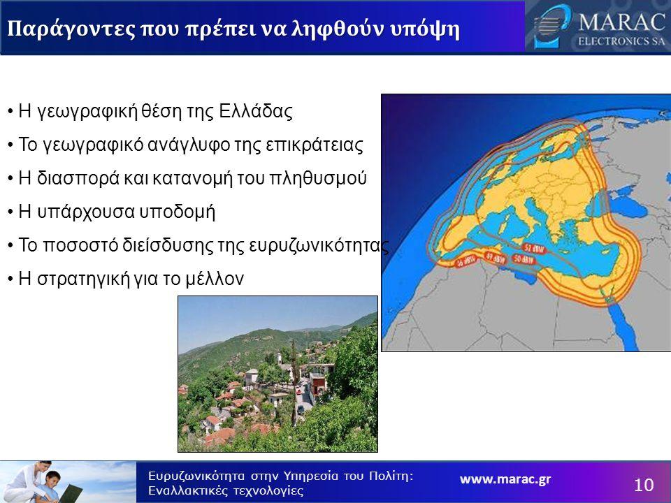 www.marac.gr Ευρυζωνικότητα στην Υπηρεσία του Πολίτη: Εναλλακτικές τεχνολογίες Παράγοντες που πρέπει να ληφθούν υπόψη Η γεωγραφική θέση της Ελλάδας Το γεωγραφικό ανάγλυφο της επικράτειας Η διασπορά και κατανομή του πληθυσμού Η υπάρχουσα υποδομή Το ποσοστό διείσδυσης της ευρυζωνικότητας Η στρατηγική για το μέλλον 10