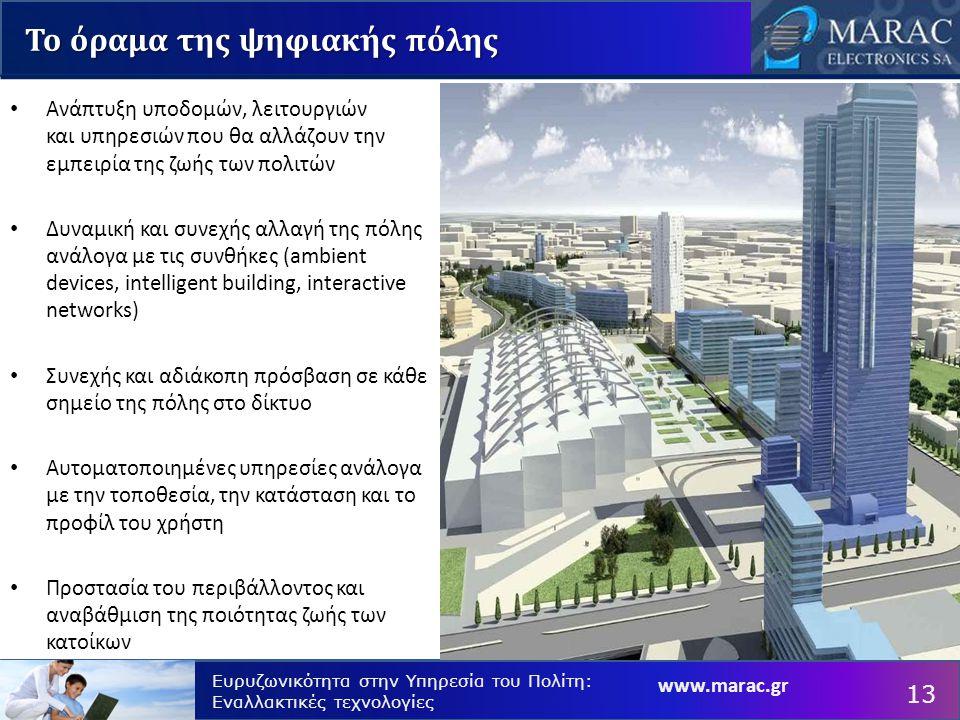 Ευρυζωνικότητα στην Υπηρεσία του Πολίτη: Εναλλακτικές τεχνολογίες Το όραμα της ψηφιακής πόλης Ανάπτυξη υποδομών, λειτουργιών και υπηρεσιών που θα αλλάζουν την εμπειρία της ζωής των πολιτών Δυναμική και συνεχής αλλαγή της πόλης ανάλογα με τις συνθήκες (ambient devices, intelligent building, interactive networks) Συνεχής και αδιάκοπη πρόσβαση σε κάθε σημείο της πόλης στο δίκτυο Αυτοματοποιημένες υπηρεσίες ανάλογα με την τοποθεσία, την κατάσταση και το προφίλ του χρήστη Προστασία του περιβάλλοντος και αναβάθμιση της ποιότητας ζωής των κατοίκων 13