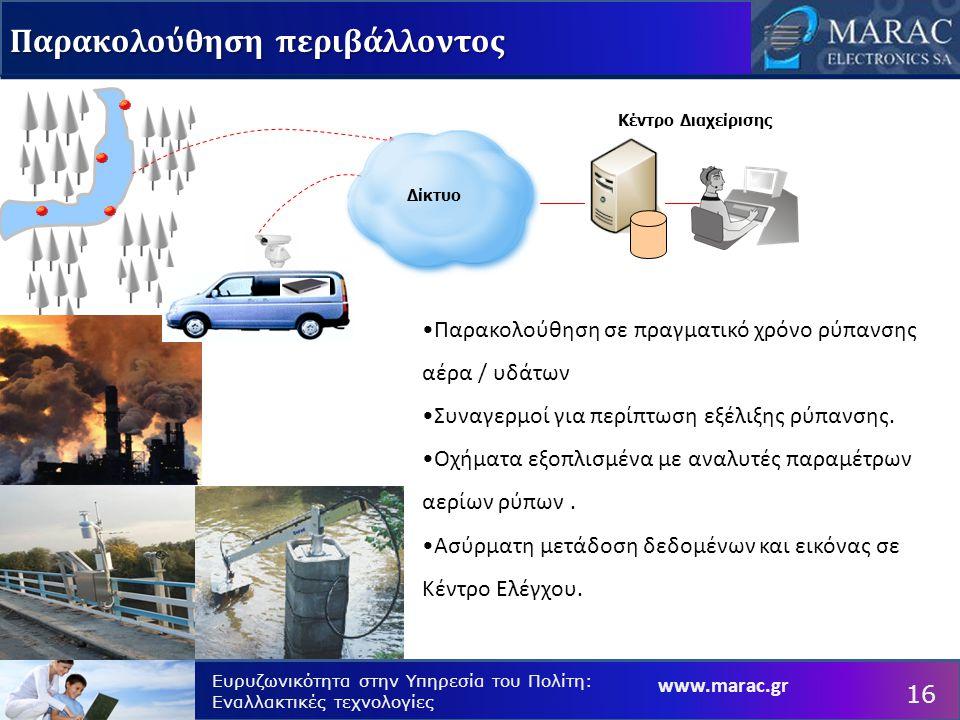 www.marac.gr Ευρυζωνικότητα στην Υπηρεσία του Πολίτη: Εναλλακτικές τεχνολογίες Κέντρο Διαχείρισης Δίκτυο Παρακολούθηση περιβάλλοντος 16 Παρακολούθηση σε πραγματικό χρόνο ρύπανσης αέρα / υδάτων Συναγερμοί για περίπτωση εξέλιξης ρύπανσης.
