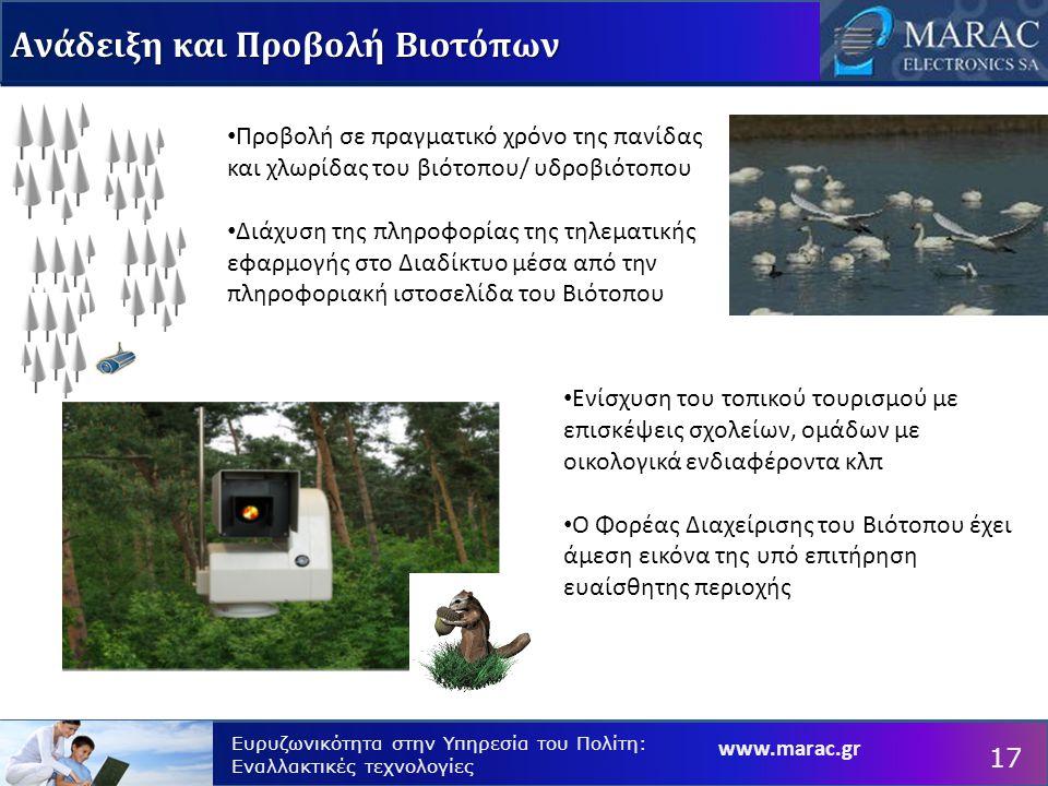 www.marac.gr Ευρυζωνικότητα στην Υπηρεσία του Πολίτη: Εναλλακτικές τεχνολογίες Προβολή σε πραγματικό χρόνο της πανίδας και χλωρίδας του βιότοπου/ υδροβιότοπου Διάχυση της πληροφορίας της τηλεματικής εφαρμογής στο Διαδίκτυο μέσα από την πληροφοριακή ιστοσελίδα του Βιότοπου Ενίσχυση του τοπικού τουρισμού με επισκέψεις σχολείων, ομάδων με οικολογικά ενδιαφέροντα κλπ Ο Φορέας Διαχείρισης του Βιότοπου έχει άμεση εικόνα της υπό επιτήρηση ευαίσθητης περιοχής Ανάδειξη και Προβολή Βιοτόπων 17