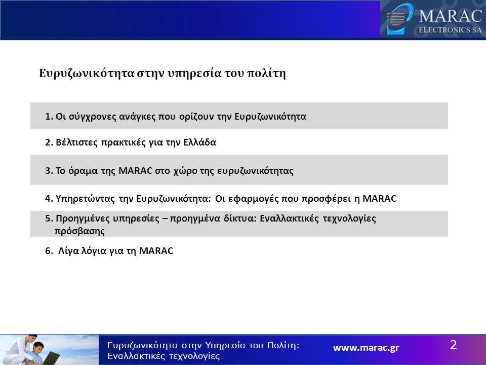 www.marac.gr Ευρυζωνικότητα στην Υπηρεσία του Πολίτη: Εναλλακτικές τεχνολογίες Η συμβολή της MARAC Η MARAC πρωταγωνιστεί στην εξέλιξη της ευρυζωνικότητας στην Ελλάδα 2004: ADSL DSLAM.