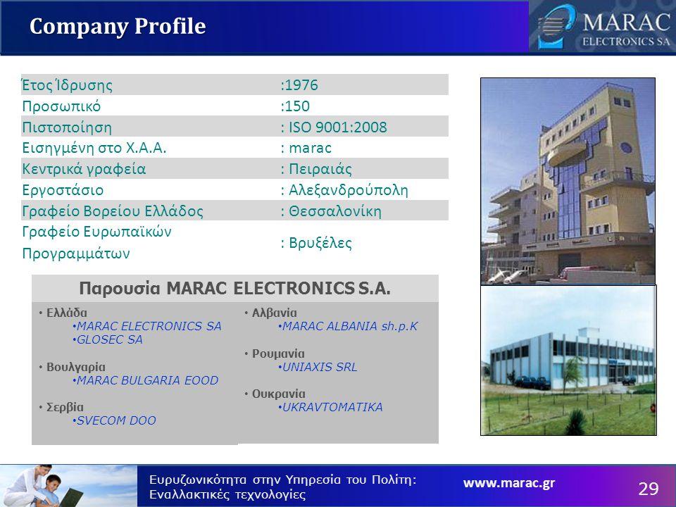 Ευρυζωνικότητα στην Υπηρεσία του Πολίτη: Εναλλακτικές τεχνολογίες Company Profile Ελλάδα MARAC ELECTRONICS SA GLOSEC SA Βουλγαρία MARAC BULGARIA EOOD Σερβία SVECOM DOO Έτος Ίδρυσης:1976 Προσωπικό:150 Πιστοποίηση: ISO 9001:2008 Εισηγμένη στο Χ.Α.Α.: marac Κεντρικά γραφεία: Πειραιάς Εργοστάσιο: Αλεξανδρούπολη Γραφείο Βορείου Ελλάδος: Θεσσαλονίκη Γραφείο Ευρωπαϊκών Προγραμμάτων : Βρυξέλες Αλβανία MARAC ALBANIA sh.p.K Ρουμανία UNIAXIS SRL Ουκρανία UKRAVTOMATIKA Παρουσία MARAC ELECTRONICS S.A.