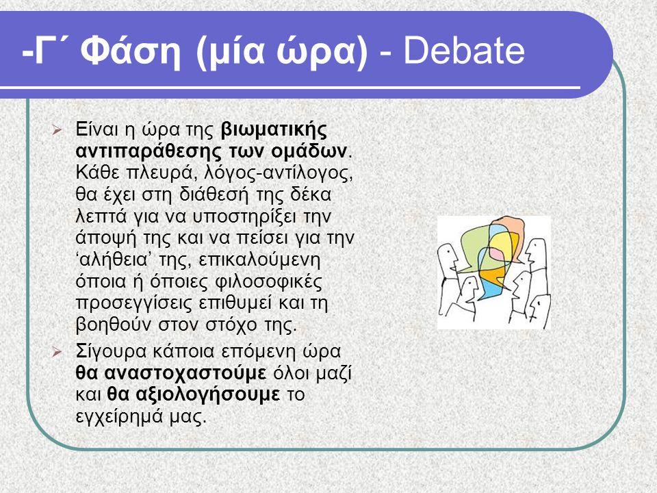 -Γ΄ Φάση (μία ώρα) - Debate  Είναι η ώρα της βιωματικής αντιπαράθεσης των ομάδων. Κάθε πλευρά, λόγος-αντίλογος, θα έχει στη διάθεσή της δέκα λεπτά γι