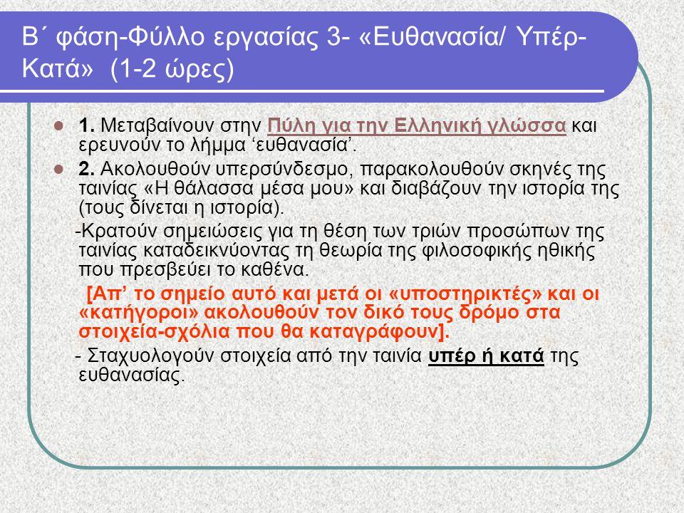 Β΄ φάση-Φύλλο εργασίας 3- «Ευθανασία/ Υπέρ- Κατά» (1-2 ώρες) 1. Μεταβαίνουν στην Πύλη για την Ελληνική γλώσσα και ερευνούν το λήμμα 'ευθανασία'.Πύλη γ