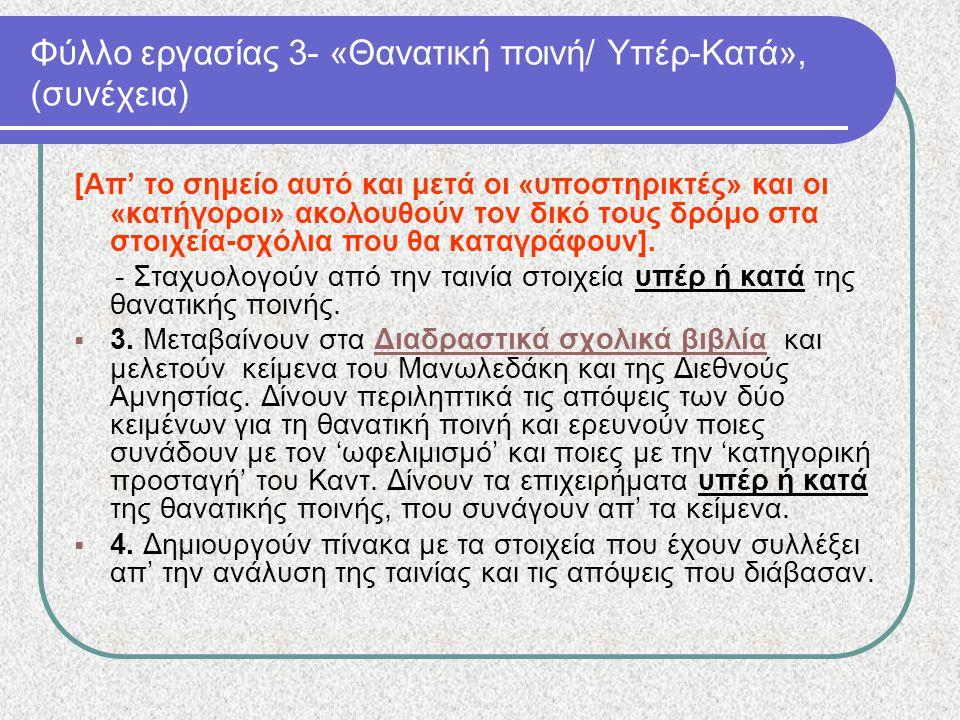 Φύλλο εργασίας 3- «Θανατική ποινή/ Υπέρ-Κατά», (συνέχεια) [Απ' το σημείο αυτό και μετά οι «υποστηρικτές» και οι «κατήγοροι» ακολουθούν τον δικό τους δ