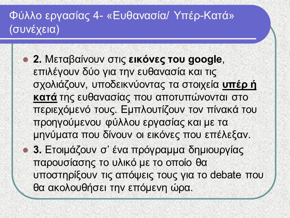 Φύλλο εργασίας 4- «Ευθανασία/ Υπέρ-Κατά» (συνέχεια) 2. Μεταβαίνουν στις εικόνες του google, επιλέγουν δύο για την ευθανασία και τις σχολιάζουν, υποδει