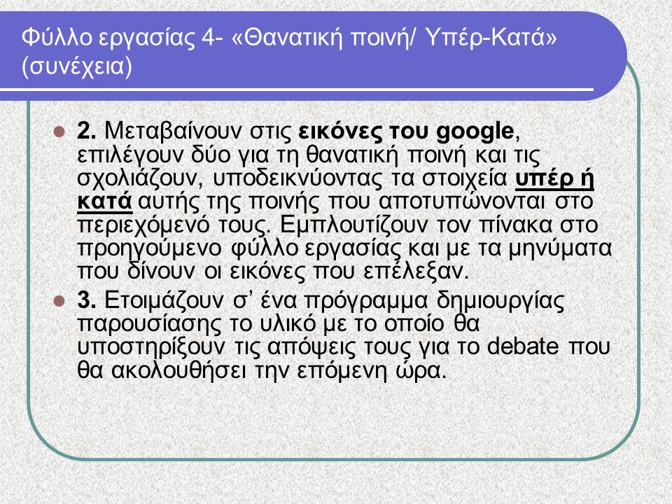 Φύλλο εργασίας 4- «Θανατική ποινή/ Υπέρ-Κατά» (συνέχεια) 2. Μεταβαίνουν στις εικόνες του google, επιλέγουν δύο για τη θανατική ποινή και τις σχολιάζου