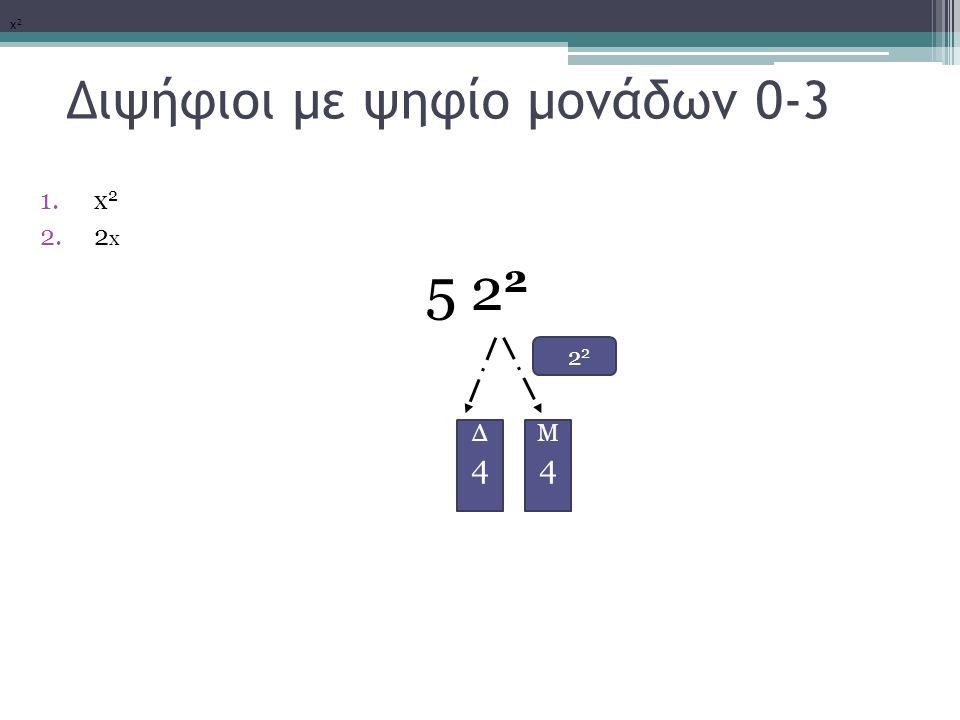Διψήφιοι με ψηφίο μονάδων 0-3 1.x 2 2.2 x 5 2 2 2 2 x2x2 Μ4Μ4 Δ4Δ4