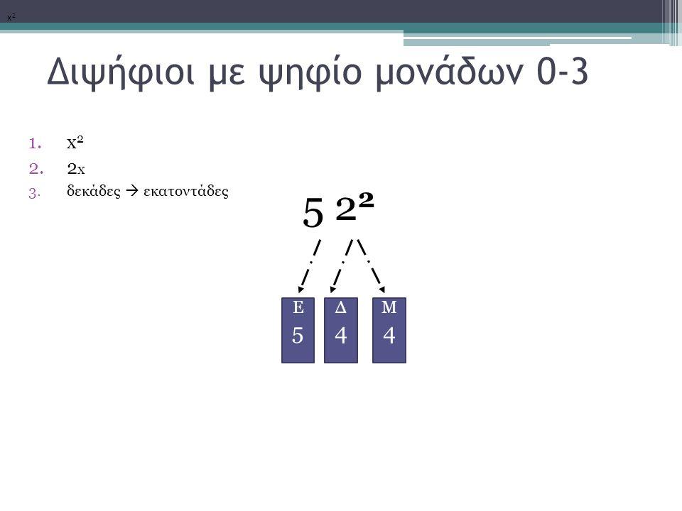 Διψήφιοι με ψηφίο μονάδων 0-3 1.x 2 2.2 x 3.δεκάδες  εκατοντάδες 5 2 2 x2x2 Μ4Μ4 Δ4Δ4 Ε5Ε5