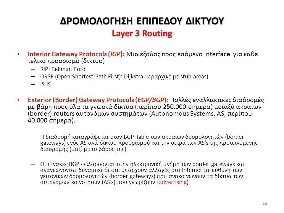 18 ΔΡΟΜΟΛΟΓΗΣΗ ΕΠΙΠΕΔΟΥ ΔΙΚΤΥΟΥ Layer 3 Routing Interior Gateway Protocols (IGP): Μια έξοδος προς επόμενο Interface για κάθε τελικό προορισμό (δίκτυο) – RIP: Bellman Ford – OSPF (Open Shortest Path First): Dijkstra, ιεραρχικό με stub areas) – IS-IS Exterior (Border) Gateway Protocols (EGP/BGP): Πολλές εναλλακτικές διαδρομές με βάρη προς όλα τα γνωστά δίκτυα (περίπου 250.000 σήμερα) μεταξύ ακραίων (border) routers αυτονόμων συστημάτων (Autonomous Systems, AS, περίπου 40.000 σήμερα).