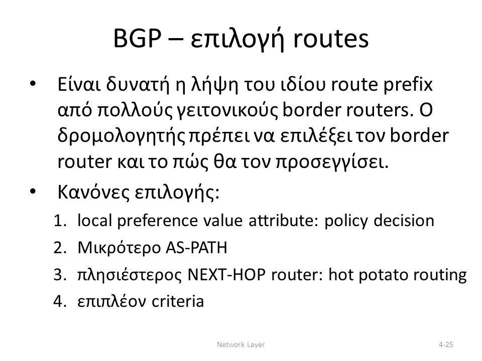 Network Layer4-25 BGP – επιλογή routes Είναι δυνατή η λήψη του ιδίου route prefix από πολλούς γειτονικούς border routers.