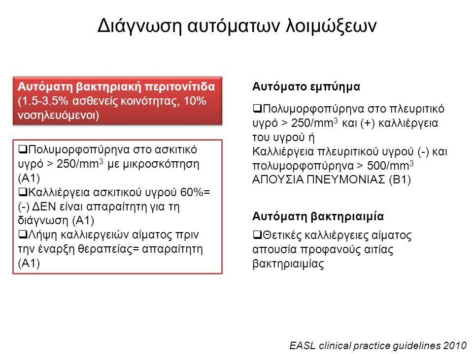 Διάγνωση αυτόματων λοιμώξεων Αυτόματη βακτηριακή περιτονίτιδα (1.5-3.5% ασθενείς κοινότητας, 10% νοσηλευόμενοι)  Πολυμορφοπύρηνα στο ασκιτικό υγρό >