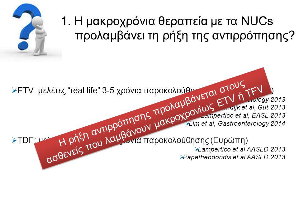 """1. Η μακροχρόνια θεραπεία με τα NUCs προλαμβάνει τη ρήξη της αντιρρόπησης?  ETV: μελέτες """"real life"""" 3-5 χρόνια παροκολούθησης (Ευρώπη + Ασία)  Wong"""