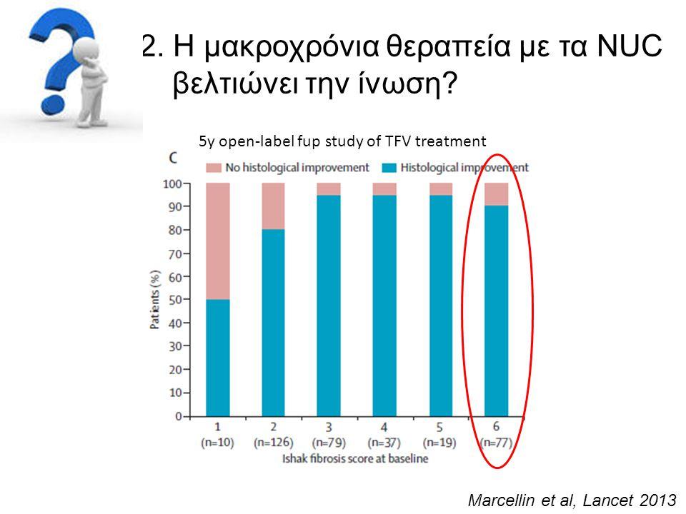 2. Η μακροχρόνια θεραπεία με τα NUC βελτιώνει την ίνωση? Marcellin et al, Lancet 2013 5y open-label fup study of TFV treatment