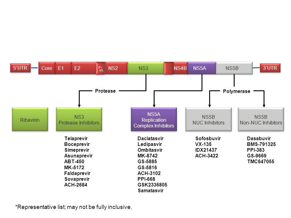 3'UTR 5'UTR Core E1 E2 NS2 NS4B NS3 NS5A NS5B p7 Telaprevir Boceprevir Simeprevir Asunaprevir ABT-450 MK-5172 Faldaprevir Sovaprevir ACH-2684 Daclatas