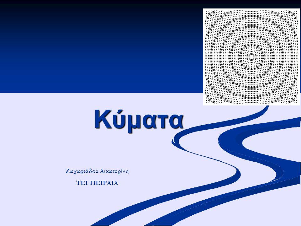 Εφαρμογή: Η εξίσωση εγκάρσιου κύματος που διαδίδεται σε χορδή δίδεται από τη σχέση: Βρείτε το πλάτος, τη συχνότητα, την ταχύτητα και το μήκος κύματος Ποιά η μέγιστη εγκάρσια ταχύητα; Α=2,0mm k=200mm -1 Μήκος κύματος: Ταχύτητα: Μέγιστη ταχύτητα
