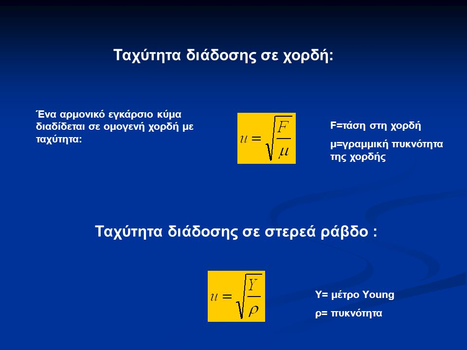 Ένα αρμονικό εγκάρσιο κύμα διαδίδεται σε ομογενή χορδή με ταχύτητα: F=τάση στη χορδή μ=γραμμική πυκνότητα της χορδής Ταχύτητα διάδοσης σε χορδή: Ταχύτητα διάδοσης σε στερεά ράβδο : Υ= μέτρο Υoung ρ= πυκνότητα