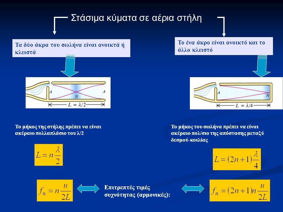 Στάσιμα κύματα σε αέρια στήλη Τα δύο άκρα του σωλήνα είναι ανοικτά ή κλειστά Το ένα άκρο είναι ανοικτό και το άλλο κλειστό Το μήκος της στήλης πρέπει να είναι ακέραιο πολλαπλάσιο του λ/2 Επιτρεπτές τιμές συχνότητας (αρμονικές): Το μήκος του σωλήνα πρέπει να είναι ακέραιο πολ/σιο της απόστασης μεταξύ δεσμού-κοιλίας