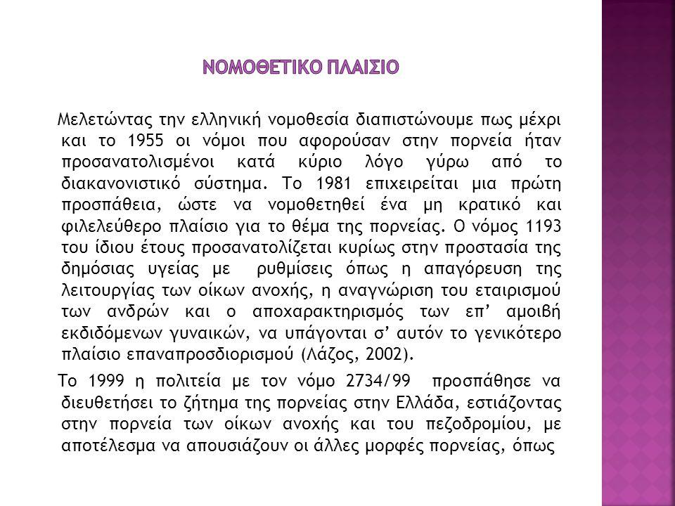 Μελετώντας την ελληνική νομοθεσία διαπιστώνουμε πως μέχρι και το 1955 οι νόμοι που αφορούσαν στην πορνεία ήταν προσανατολισμένοι κατά κύριο λόγο γύρω
