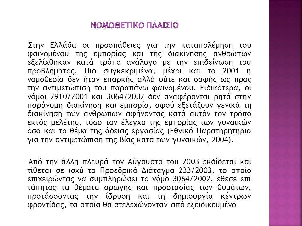 Στην Ελλάδα οι προσπάθειες για την καταπολέμηση του φαινομένου της εμπορίας και της διακίνησης ανθρώπων εξελίχθηκαν κατά τρόπο ανάλογο με την επιδείνω