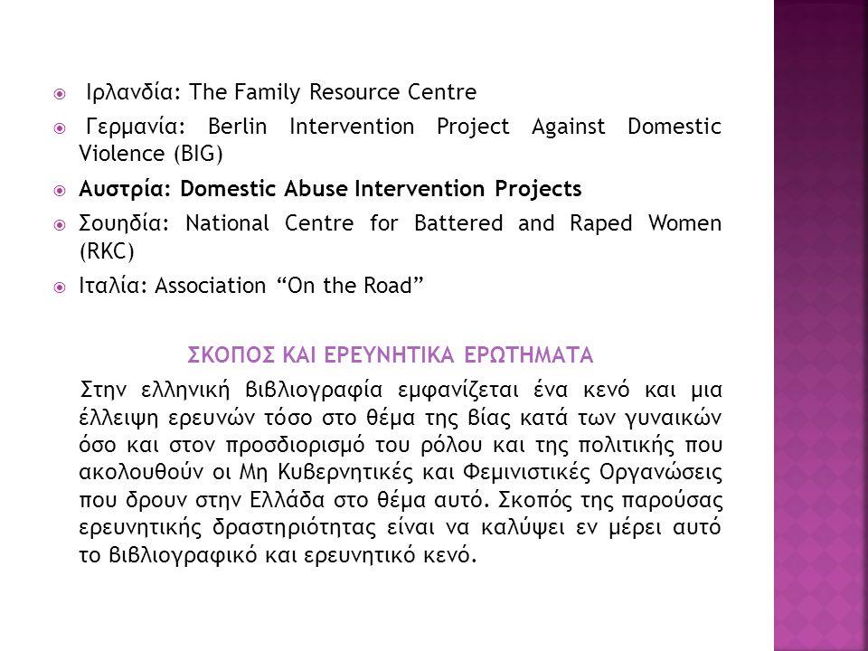  Ιρλανδία: The Family Resource Centre  Γερμανία: Berlin Intervention Project Against Domestic Violence (BIG)  Αυστρία: Domestic Abuse Intervention