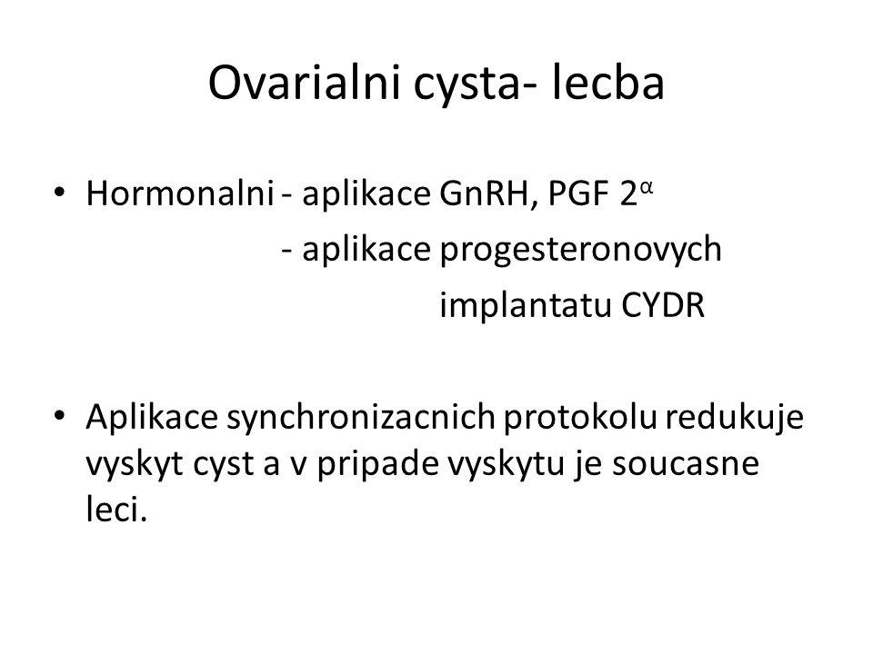 Ovarialni cysta- lecba Hormonalni - aplikace GnRH, PGF 2 α - aplikace progesteronovych implantatu CYDR Aplikace synchronizacnich protokolu redukuje vyskyt cyst a v pripade vyskytu je soucasne leci.