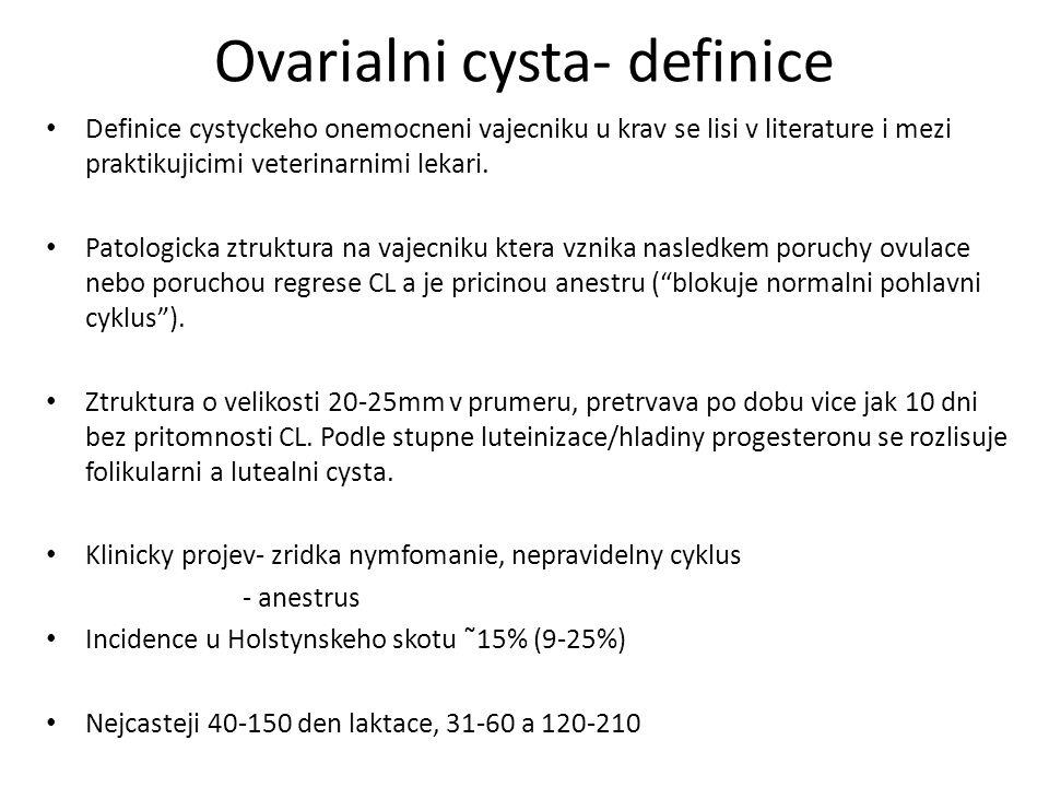 Ovarialni cysta- definice Definice cystyckeho onemocneni vajecniku u krav se lisi v literature i mezi praktikujicimi veterinarnimi lekari.