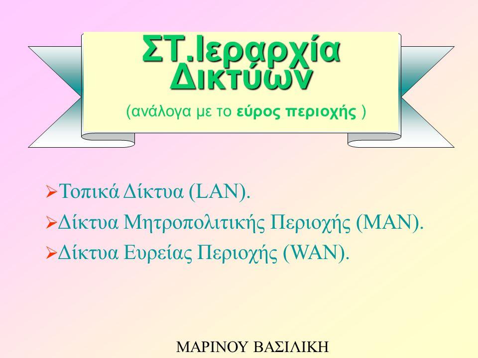 ΣΤ.Ιεραρχία Δικτύων ΣΤ.Ιεραρχία Δικτύων (ανάλογα με το εύρος περιοχής )  Τοπικά Δίκτυα (LAN).