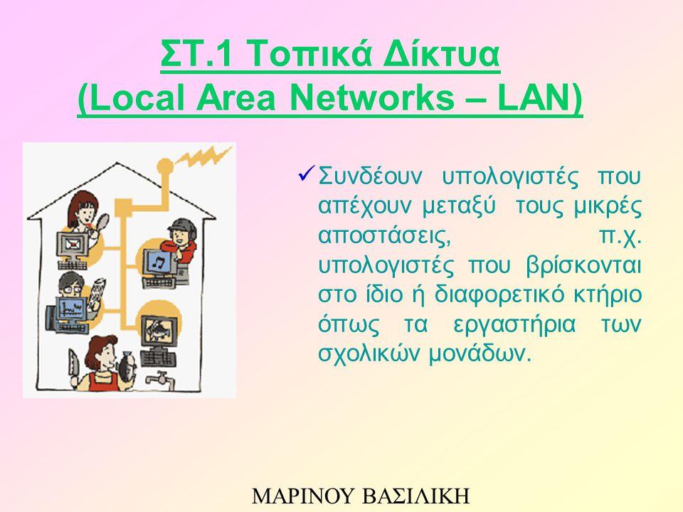 ΣΤ.1 Τοπικά Δίκτυα (Local Area Networks – LAN) Συνδέουν υπολογιστές που απέχουν μεταξύ τους μικρές αποστάσεις, π.χ.
