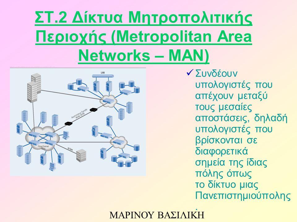 ΣΤ.2 Δίκτυα Μητροπολιτικής Περιοχής (Metropolitan Area Networks – MAN) Συνδέουν υπολογιστές που απέχουν μεταξύ τους μεσαίες αποστάσεις, δηλαδή υπολογι