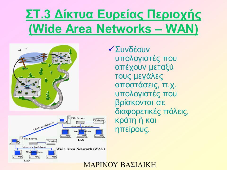 ΣΤ.3 Δίκτυα Ευρείας Περιοχής (Wide Area Networks – WAN) Συνδέουν υπολογιστές που απέχουν μεταξύ τους μεγάλες αποστάσεις, π.χ. υπολογιστές που βρίσκοντ