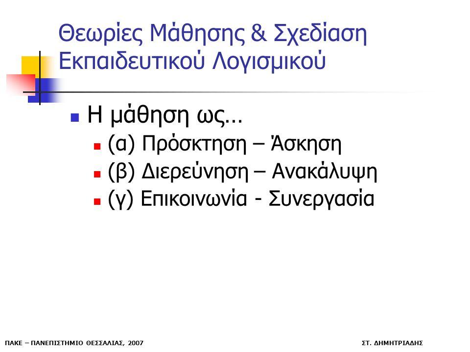 ΠΑΚΕ – ΠΑΝΕΠΙΣΤΗΜΙΟ ΘΕΣΣΑΛΙΑΣ, 2007 ΣΤ. ΔΗΜΗΤΡΙΑΔΗΣ Θεωρίες Μάθησης & Σχεδίαση Εκπαιδευτικού Λογισμικού Η μάθηση ως… (α) Πρόσκτηση – Άσκηση (β) Διερεύ