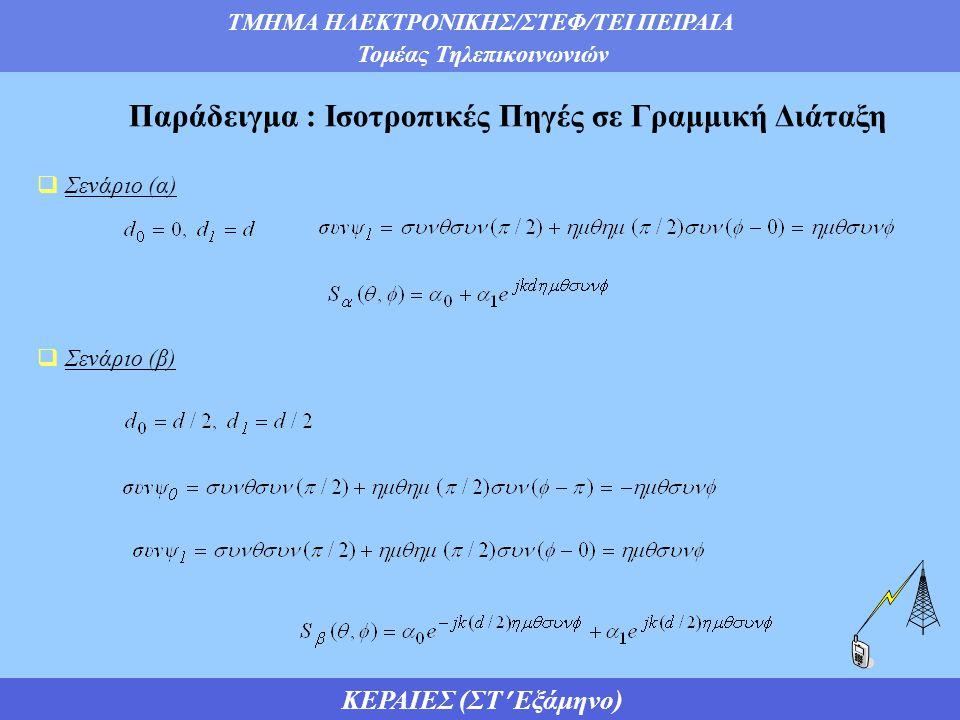 ΤΜΗΜΑ ΗΛΕΚΤΡΟΝΙΚΗΣ/ΣΤΕΦ/ΤΕΙ ΠΕΙΡΑΙΑ Τομέας Τηλεπικοινωνιών ΚΕΡΑΙΕΣ (ΣΤ Εξάμηνο)  Συγκρίνοντας τους παράγοντες διάταξης προκύπτει η ακόλουθη σχέση  Συνεπώς, η διαφορά μεταξύ των σεναρίων (α) και (β), συνίσταται σε μια διαφορά φάσης, που δεν επηρεάζει το μέτρο του παράγοντα διάταξης (|S(θ,φ)|) ή το διάγραμμα ακτινοβολίας Παράδειγμα : Ισοτροπικές Πηγές σε Γραμμική Διάταξη