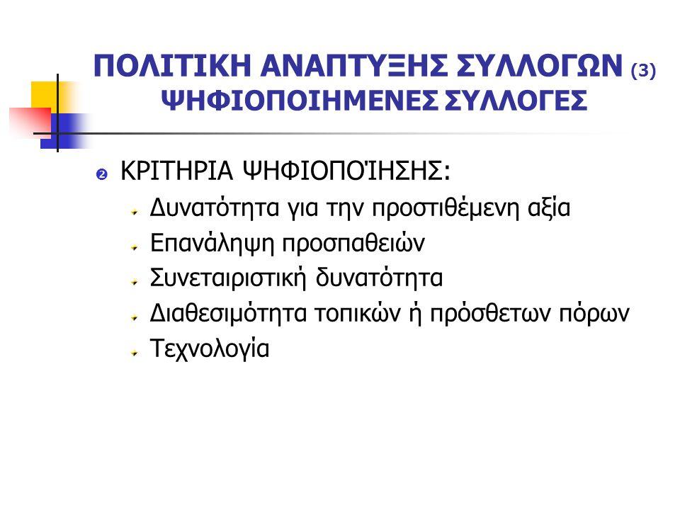 ΠΟΛΙΤΙΚΗ ΑΝΑΠΤΥΞΗΣ ΣΥΛΛΟΓΩΝ (3) ΨΗΦΙΟΠΟΙΗΜΕΝΕΣ ΣΥΛΛΟΓΕΣ  ΚΡΙΤΗΡΙΑ ΨΗΦΙΟΠΟΊΗΣΗΣ: Δυνατότητα για την προστιθέμενη αξία Επανάληψη προσπαθειών Συνεταιριστική δυνατότητα Διαθεσιμότητα τοπικών ή πρόσθετων πόρων Τεχνολογία