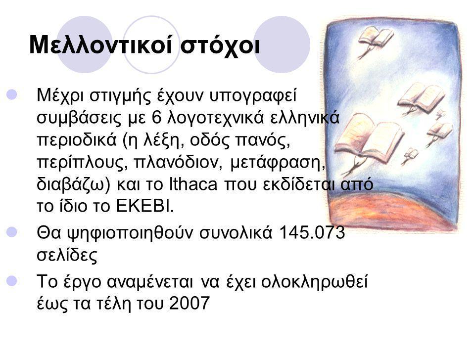 Μελλοντικοί στόχοι Μέχρι στιγμής έχουν υπογραφεί συμβάσεις με 6 λογοτεχνικά ελληνικά περιοδικά (η λέξη, οδός πανός, περίπλους, πλανόδιον, μετάφραση, διαβάζω) και το Ithaca που εκδίδεται από το ίδιο το ΕΚΕΒΙ.