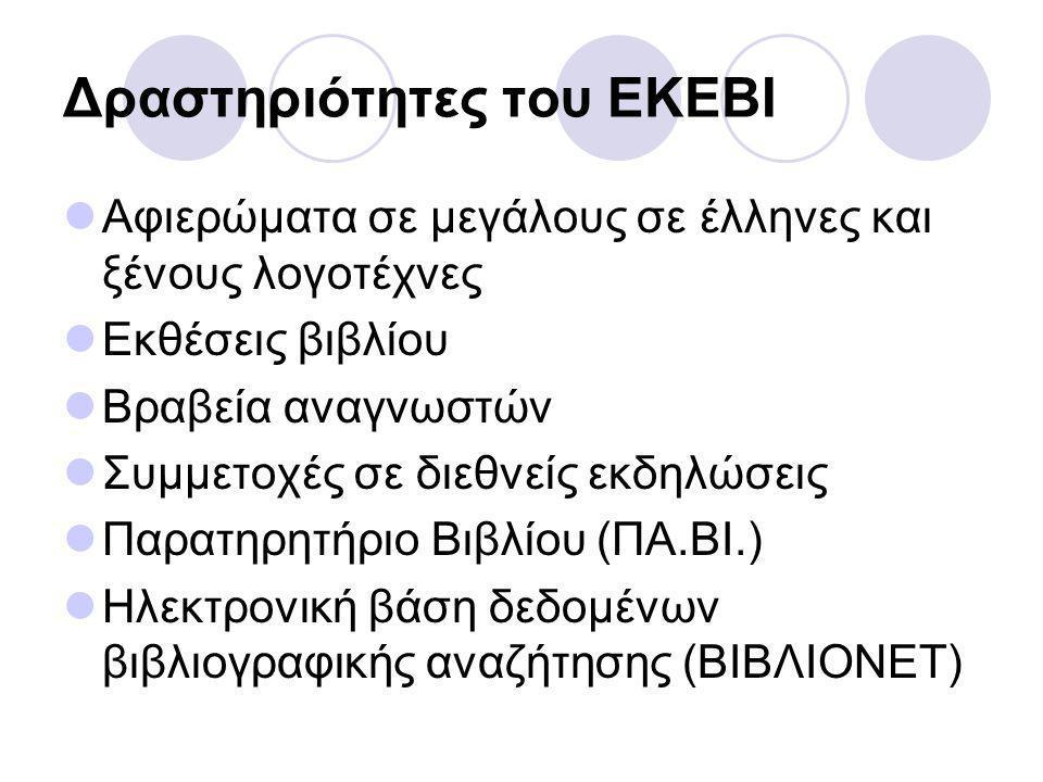 Δραστηριότητες του ΕΚΕΒΙ Αφιερώματα σε μεγάλους σε έλληνες και ξένους λογοτέχνες Εκθέσεις βιβλίου Βραβεία αναγνωστών Συμμετοχές σε διεθνείς εκδηλώσεις Παρατηρητήριο Βιβλίου (ΠΑ.ΒΙ.) Ηλεκτρονική βάση δεδομένων βιβλιογραφικής αναζήτησης (ΒΙΒΛΙΟΝΕΤ)