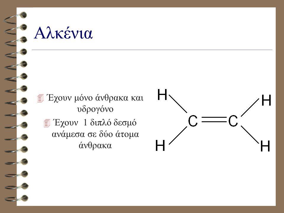 Αλκάνια 4 Έχουν μόνο άνθρακα και υδρογόνο 4 Έχουν μόνο απλούς δεσμούς
