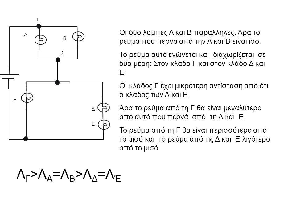 Α Β Γ 2 Δ 1 Ε Οι δύο λάμπες Α και Β παράλληλες.Άρα το ρεύμα που περνά από την Α και Β είναι ίσο.
