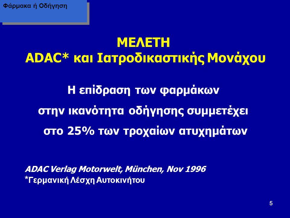 16 Η Φαρμακοβιομηχανία δεν αναφέρει πάντα στο φύλλο οδηγιών των φαρμάκων την επικινδυνότητα για την οδήγηση, παρόλο που, με βάση τις ανεπιθύμητες ενέργειες, υφίσταται.