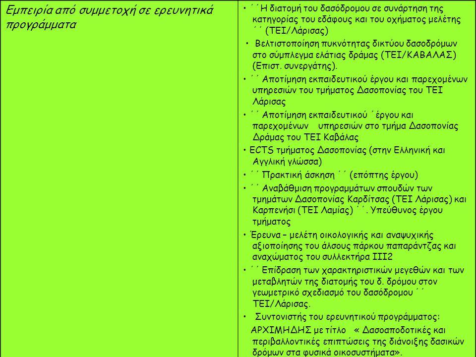 Εμπειρία από συμμετοχή σε ερευνητικά προγράμματα ΄΄Η διατομή του δασόδρομου σε συνάρτηση της κατηγορίας του εδάφους και του οχήματος μελέτης ΄΄ (ΤΕΙ/Λάρισας) Βελτιστοποίηση πυκνότητας δικτύου δασοδρόμων στο σύμπλεγμα ελάτιας δράμας (ΤΕΙ/ΚΑΒΑΛΑΣ) (Επιστ.