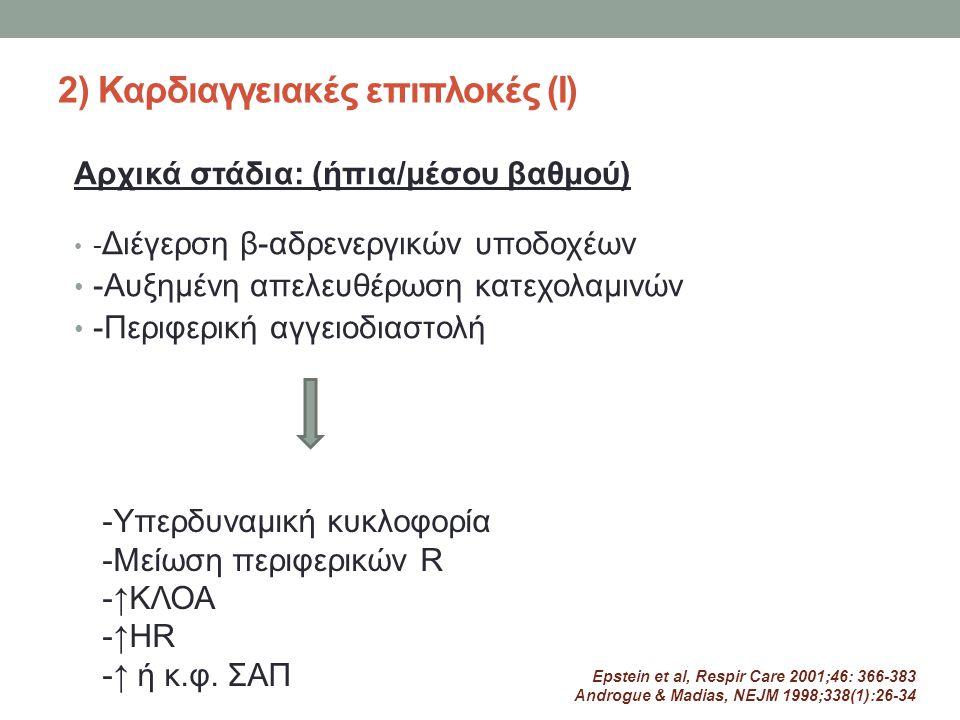 2) Καρδιαγγειακές επιπλοκές (Ι) - Διέγερση β-αδρενεργικών υποδοχέων -Aυξημένη απελευθέρωση κατεχολαμινών -Περιφερική αγγειοδιαστολή Αρχικά στάδια: (ήπ